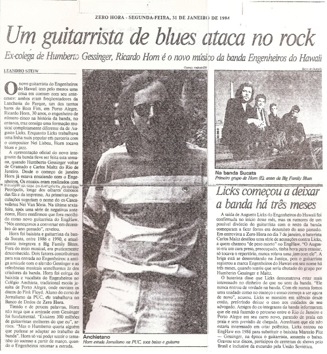 1994 - Um guitarrista de blues ataca no rock (ZH)
