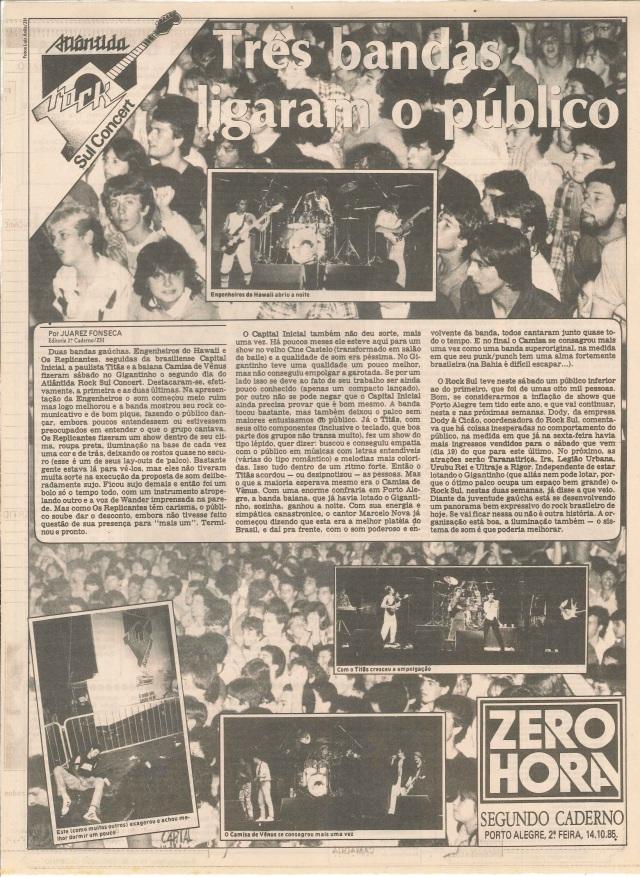 1985 - Três bandas ligaram o público (ZH)