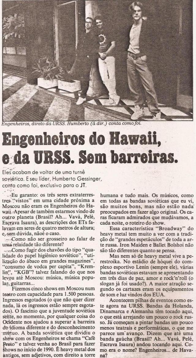 1989 - Engenheiros do Hawaii e da URSS. Sem barreiras. (Jornal da Tarde)