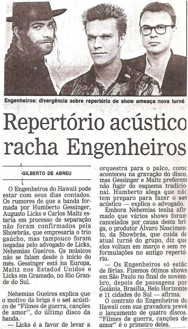 1993 - Repertório acústico racha os Engenheiros