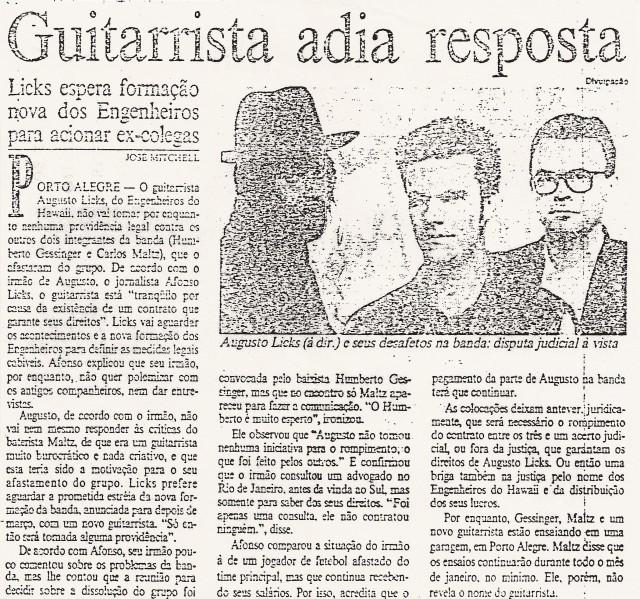1994 - Guitarrista adia resposta