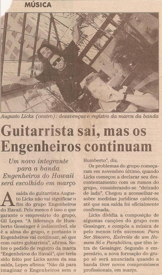 1994 - Guitarrista sai, mas os Engenheiros continuam