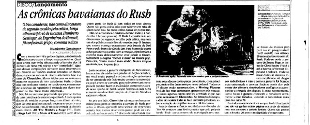 1991 - As crônicas hawaianas do Rush